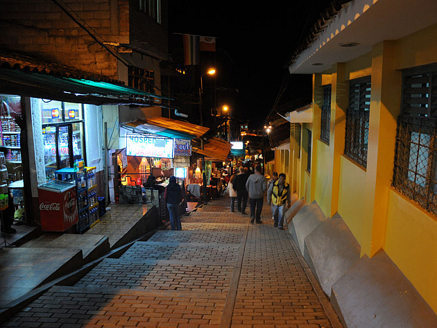 Aguas Calientes Street at Night