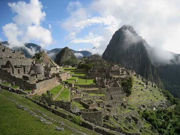 View of Machu Picchu with Clouds